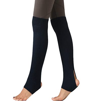 "21.5"" Stirrup Pilate Yoga Ballet Over Knee High Stocking Socks Knit Warm Long Leg Warmers (Black): Clothing"