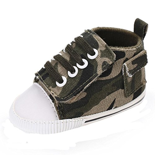 Lotus.flower Baby Girls Boys Canvas Prewalker Soft Sole Antiskid Sneaker Shoes Trainer (0-6 Months, Army -