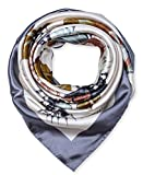 Large Square Satin Silk Like Lightweight Scarfs Hair Sleeping Wraps for Women Grey Flowers Pattern