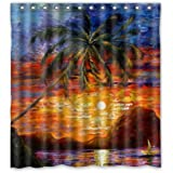 PUDA 66 quot;(Width) x 72 quot;(Height) Tropical Beach Sunset Palm Trees Painting Theme Design 100%