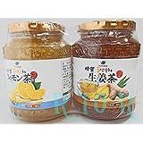 はちみつレモン茶・しょうが茶 580g×2本セット 韓国直輸入 オリオンジャコー 蜂蜜レモン茶/生姜茶