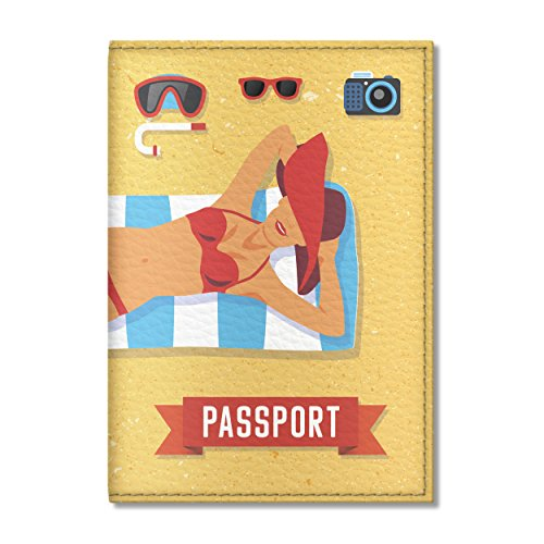 1d449baf501f Cute Passport Cover for women and men, by Govinda Crafts, Eco Leather  Passport Holder (Beach Girl)