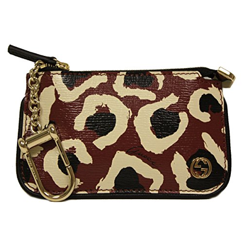 Gucci Leopard Print Interlocking GG Logo Red Leather Clip Coin Purse 233183 A831G