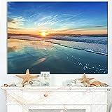 Design Art 1 Piece Blue Seashore with Distant Sunset Seashore Canvas Wall Art, 60x28'', Blue