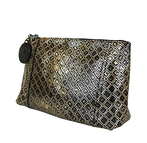 Veneta Black Leather Clutch Bag Intrecciomirage Pouch 301201 Bottega Gold 8414 CnqwIPxtdt