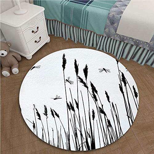 Wheat Autumn Rug - Fade Resistant Contemporary Plush Hallway Entryway Living Dining Room Area Rug 2.62 Ft Diameter Dragonfly,Wheat Field Autumn Agriculture Background Nature Harvest Bush Herbs Theme Art Decorative,Black