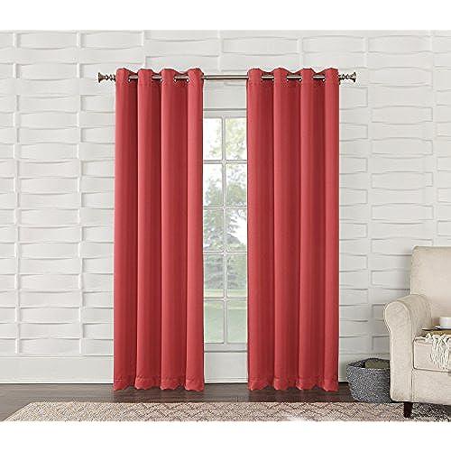 Sun Zero Barrow Energy Efficient Grommet Curtain PanelCoral Orange54 X 84