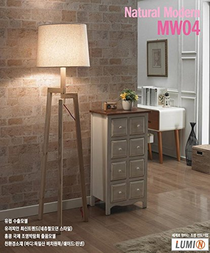 LUMIN MW04 European Luxury Noblesse Natural Beech Wood Floor Stand Lamp Light Linen Shade Great Interior for Your Home Deco / 9W Osram LED Bulb Including by Lumin (Image #4)