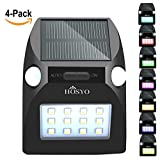 Solar Motion Sensor Lights, Motion Activated Auto On/Off & Multi-Colors, HOSYO 12 LED Outdoor Motion Sensor Solar Light Security Light Wall Light for Garden Driveway Steps Patio Deck Yard(4-Pack)