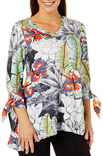 - Thomas & Olivia Womens Tropical Print Tie Sleeve Top Medium White Multi