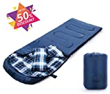 sleeping bag - X-CHENG Flannel Sleeping Bags - ECO Friendly Materials - Super warm Flannel lining -Water Resistant & Machine Washable - Multi- Season & 32℉Available - Perfect for Camping, Hiking (right)