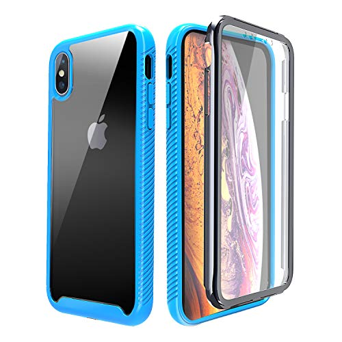 iPhone X Clear Case,iPhone XS/10 Case Clear,[Built in Screen Protector] Yetolee Full Body Protective Shockproof Hard Plastic & Soft TPU Case for iPhone X/XS (5.8. inch) Light Blue