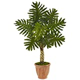 Nearly Natural 4.5' Monstera Artificial Tree in Terracotta Pot, Green