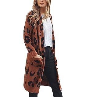6e8fe3289a18 Uni Clau Knit Cardigan Sweater for Women Long Sleeve Leopard Print Open  Front Warm Winter Coats