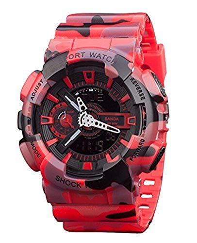 Vavna Navy Marines Air Force Police Firefighter Men Camouflage Red Led Watch