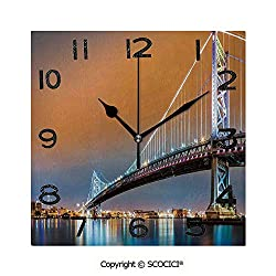 SCOCICI 8 Inch Square Face Silent Wall Clock Ben Franklin Bridge and Philadelphia Skyline Viewed from Camden Across The Delaware River Decorative Unique Contemporary Home and Office Decor