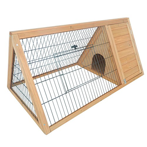 (PawHut Outdoor Triangular Wooden Bunny Rabbit Hutch/Guinea Pig House with Run)