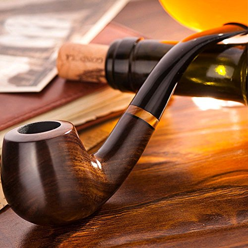 (Scotte Tobacco Pipe Handmade Ebony Wood root Smoking Pipe Gift Box and Accessories (Black&A))
