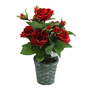 Admired By Nature Plant Artificial Potted Rose, 13' L, Red 97