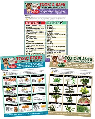 Set of 3 Enhanced TRADEMARKED Toxic & Safe Foods, Toxic Plants & Toxic Foods Poison for Pets Dogs Cats Emergency Home Alone 5