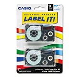 Casio - Tape Cassettes for KL Label Makers, 9mm x 26ft, Blue on White, 2/Pack XR9WEB2S (DMi PK