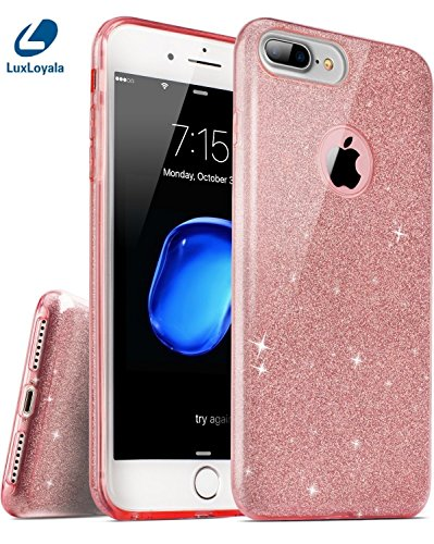iPhone 7 Plus Case, Cute iPhone 8 Plus Case Girly, Girl Pink iPhone7 Plus Case Shockproof Silicone Bling Glitter Sparkle Transparent phone Protective case