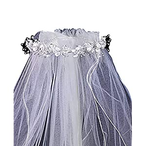 Lito, Veil with Satin Corded Flowers with Rhinestone Accents