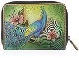 Anuschka Genuine Leather | Zip Around Credit Card Case | Passionate Peacocks