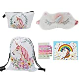 HADM Unicorn Gifts for Girls 5 Pack Unicorn Drawstring Backpack Bag/Makeup Bag/Sleeping Eye Mask/Hair Ties/Card