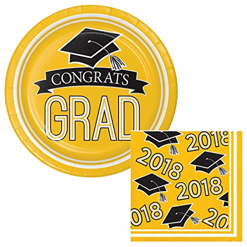 Yellow Scroll - School Colors Graduation Dessert Plates & Napkins Party Kit for 18 (Yellow Plates & Yellow Napkins, Dessert)