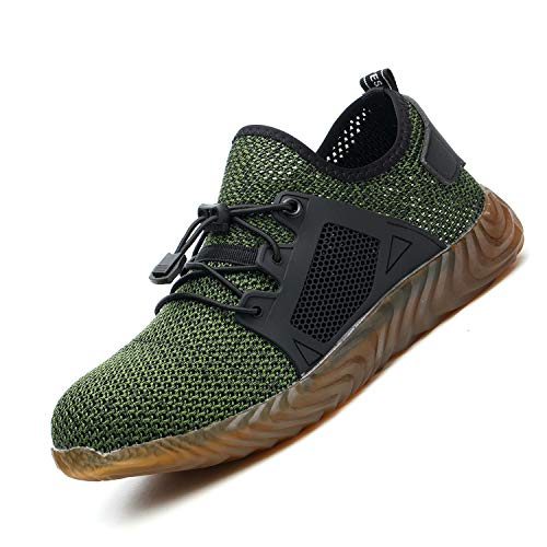 Indestructible Work Shoes Mens, Mesh Breathable Lightweight Comfortable Steel Toe Safety Industrial Construction Slip Resistant Shoes, 589 Green 46 ()