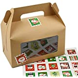 WYTD DIY Christmas Portable 2-Cavity CupCake Boxes With Window ( Include Tags, Case of 10)