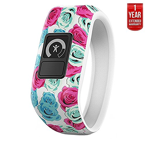 Garmin Vivofit Jr. Activity Tracker for Kids, Regular Fit - Real Flower (010-01634-02) + 1 Year Extended Warranty by Garmin