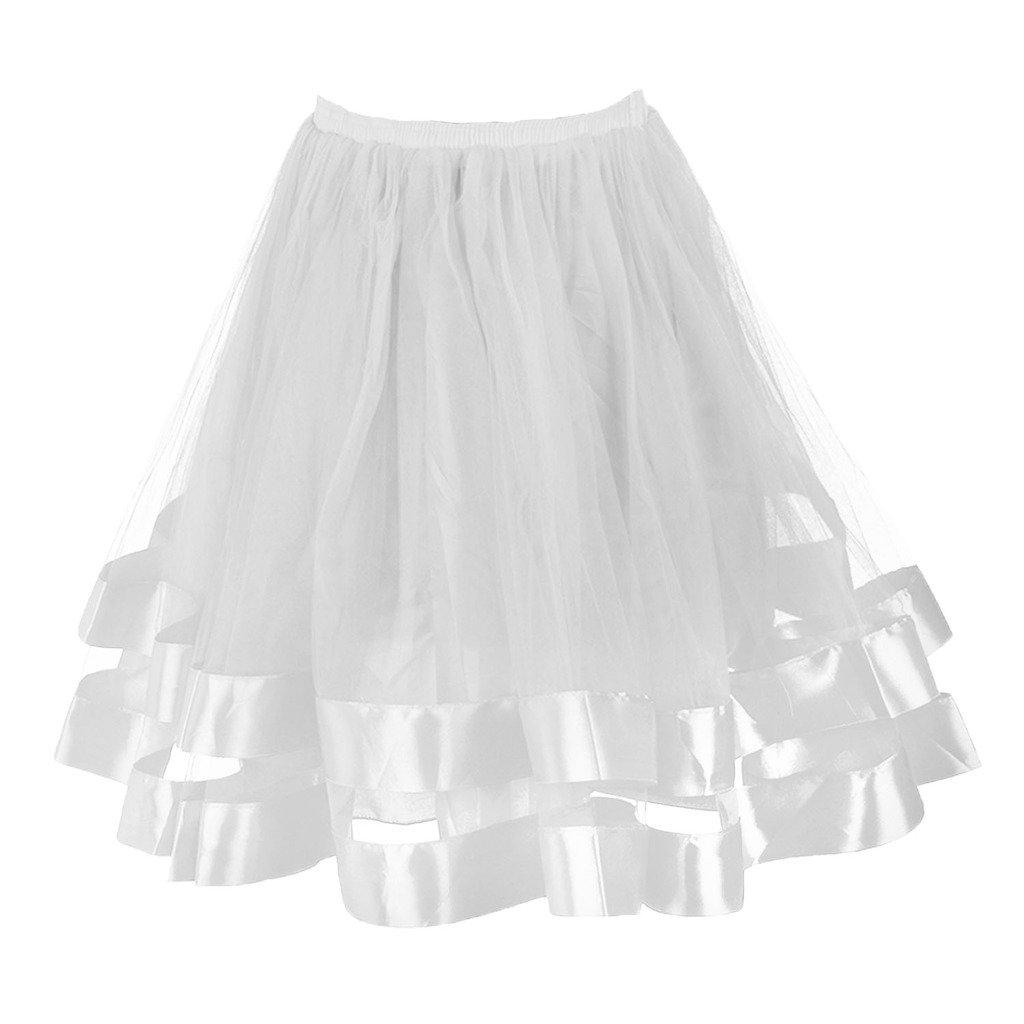 Musever Women's Short Petticoat Elastic Waistband Tutu Tulle Mini Skirt White L