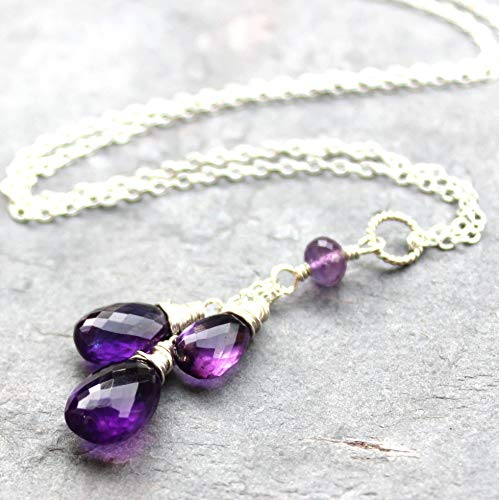 Amethyst Necklace Sterling Silver Pendant Purple Gemstone Cascade Trio 18 Inch Length
