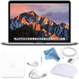 Apple 128GB SSD 13.3' MacBook Pro (Space Gray) MPXQ2LL/A + White 2.4 GHz Slim Optical Wireless Bluetooth Mouse + White Wired Earbuds + Fibercloth Bundle