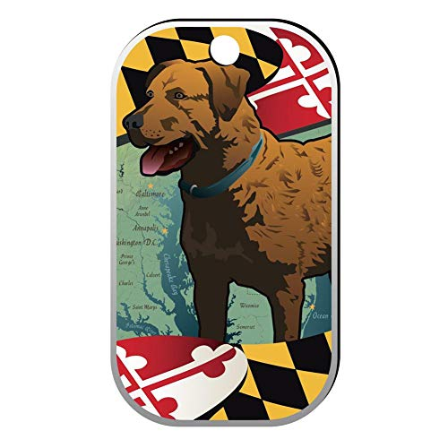 BSARRE Custom ID Pet Tag Double Sided Stainless Steel Square Necklaces Dog Tag Pendant Maryland Dog ()