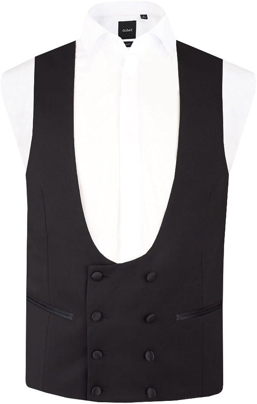 Dobell Mens Black Tuxedo Waistcoat Regular Fit 8 Button Double Breasted Horseshoe