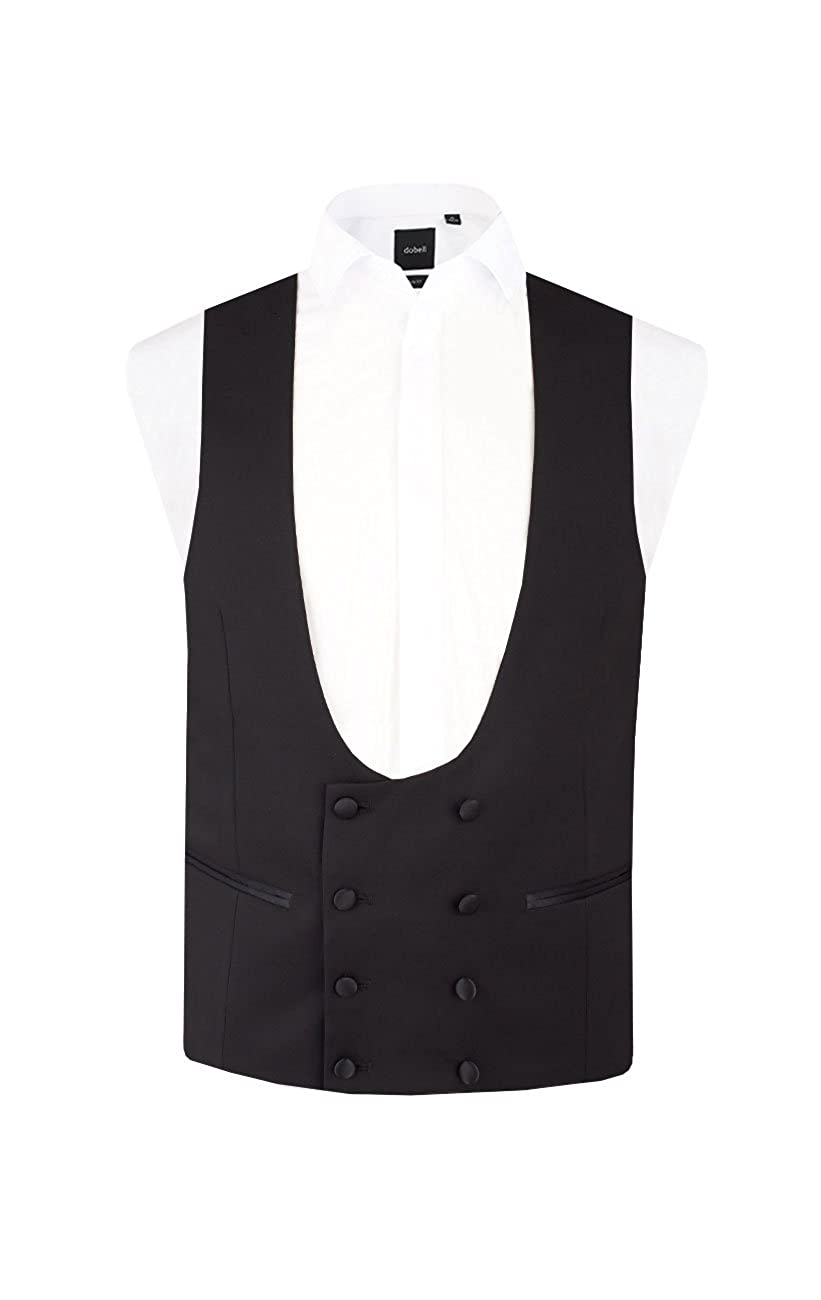 Dobell Mens Black Tuxedo Waistcoat Regular Fit 8 Button Double Breasted Horseshoe Vest