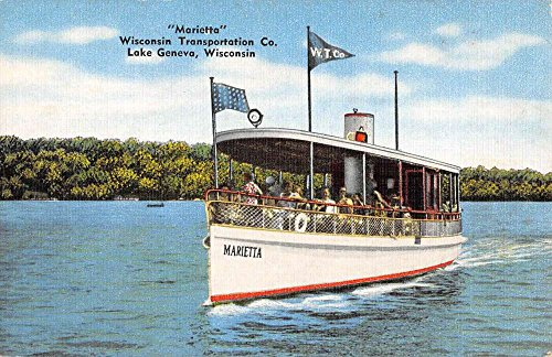 Lake Geneva Wisconsin Marietta Transportation Co Boat Antique Postcard K97365