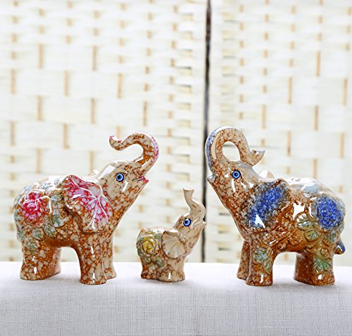 Ceramic Elephant Family Statue Wealth Lucky Feng Shui Figurine Home Decor Collection Birthday Congratulatory House Warming Gift (Yellow)