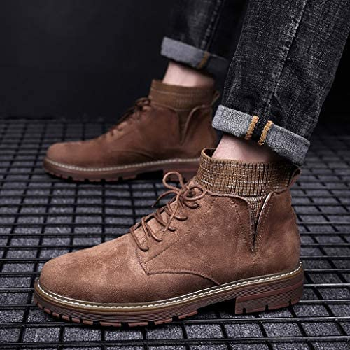 VonVonCo Hiking Boots for Men Vintage Work Fashion Trend Ankle Casual Large Size Shoes Running Boots