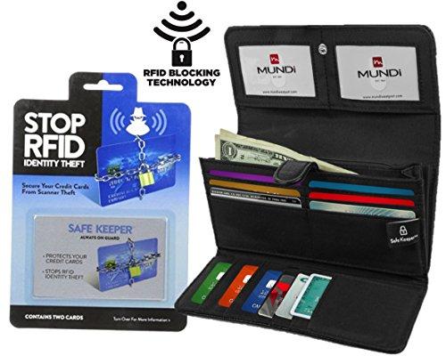 Mundi File Master Womens RFID Blocking Clutch Checkbook Wallet With 2 Bonus RFID Blocking Card Sleeves (Black) Image