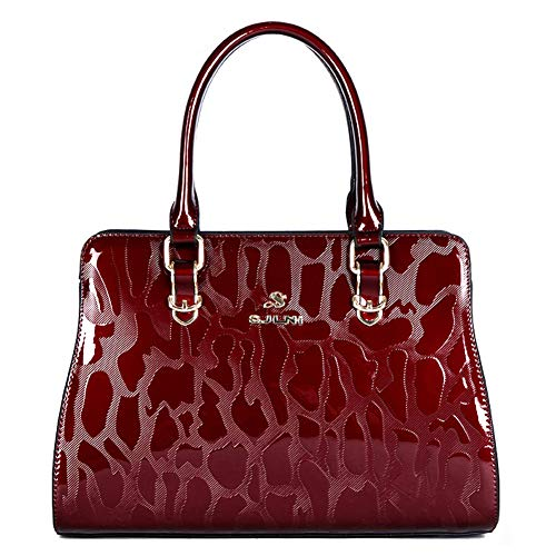 (G-AVERIL Women Top Handle Handbags Shoulder Bag Leather Tote Bags Red Wine)