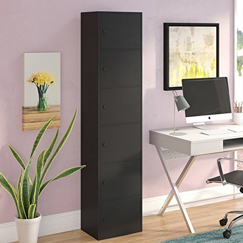 Black Office Storage Cabinet with 6 Doors, Style and Organizational Space in Your Home - Clean-Lined Design, Composite Wood Construction with Black Finish