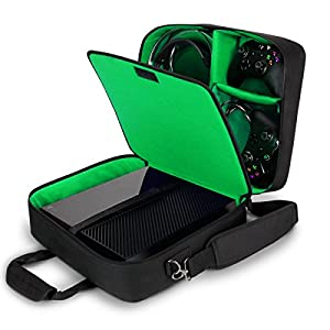 USA Gear Xbox One / Xbox 1 X Travel Case Console Bag Kinect Storage , Adjustable Carrying Shoulder Strap , Games & Accessory Pockets for Play & Charge Kit , Wireless Controller , Headset & More