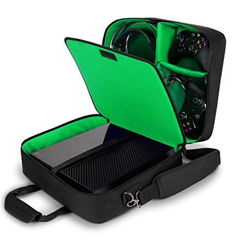 USA Gear Xbox One / Xbox One X Travel Case Carrying Bag for Console , Controllers , Games , Headsets & More with Adjustable Shoulder Strap , Accessory Storage Pockets , & Customizable Interior - Green