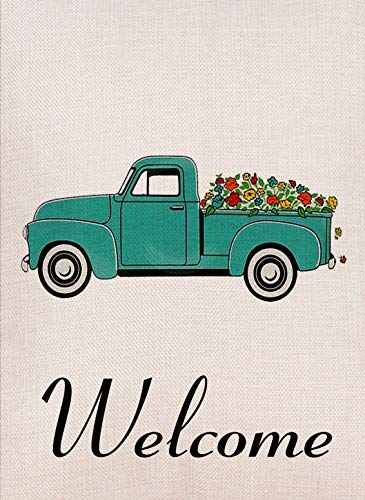(Artofy Home Decorative Vintage Truck Flowers Small Garden Flag Double Sided, Burlap Welcome Quotes Farm House Yard Decoration, Rustic Farmhouse Seasonal Outdoor Décor Flag 12.5 x 18 Spring Summer)