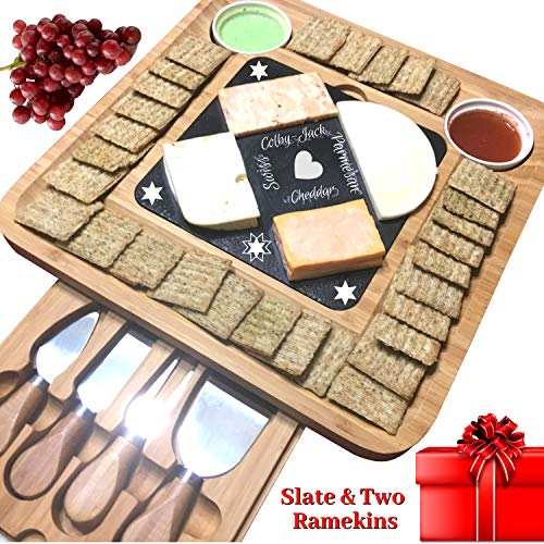 Slate Cheese Board Set w/Cutlery Set, 2 Bowl, Soap Stone Chalk, Bamboo Charcuterie Platter Wood Board, Perfect gift for Mom, Mothers, Women, Men Housewarming, Wedding, Birthday, Hostess (Cheese Servers)
