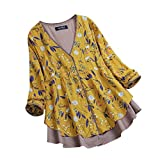 WOCACHI Final Clear Out Womens Blouses Vintage Floral Plus Size V-Neck Lace Swing Hem Tops Shirt Black Friday Cyber Monday Winter Autumn Bottoming Shirts Button Decor Long Sleeve Yellow